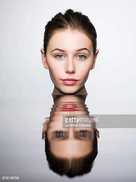Portrait of a woman with rippled reflection