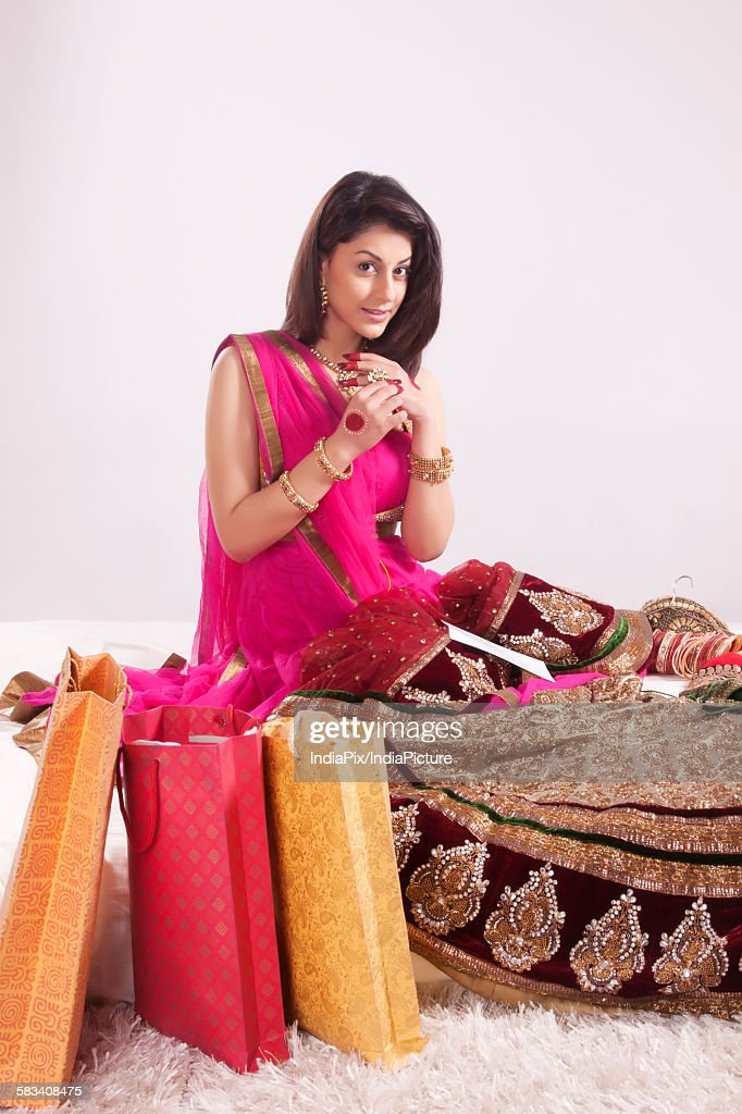Portrait of a woman with wedding shopping : Stock Photo