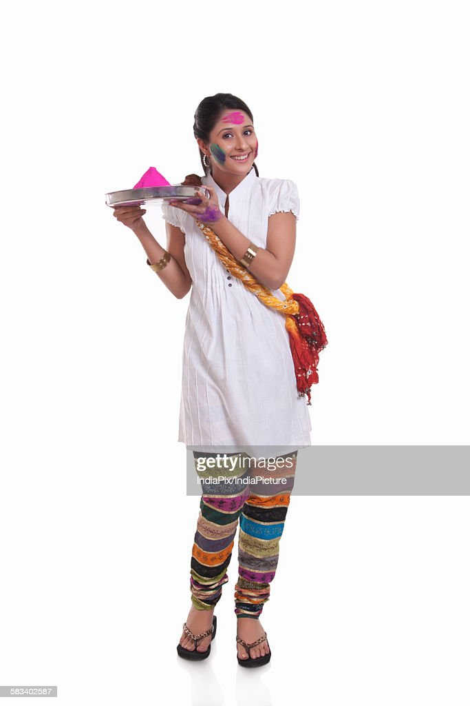 Portrait of a WOMEN with holi colour : Stock Photo