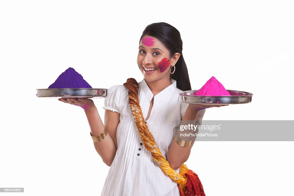 Portrait of a WOMEN with holi colours : Stock Photo