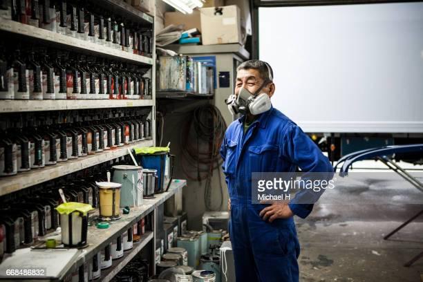 Portrait of a worker wearing mask in car factory