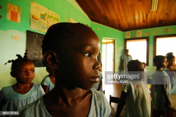 Portrait of a young african girl with braids a ray of light on the side of her face, in a green classroom with other schoolgirls in the background,...