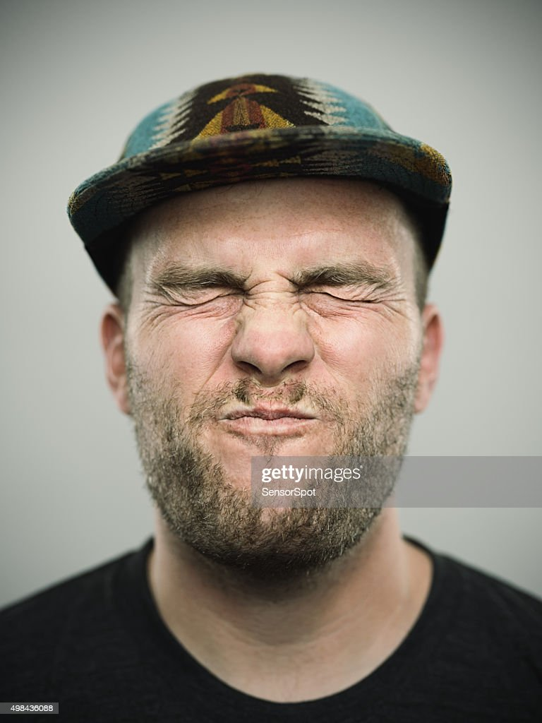 Portrait of a young american man with closed eyes : Stock Photo