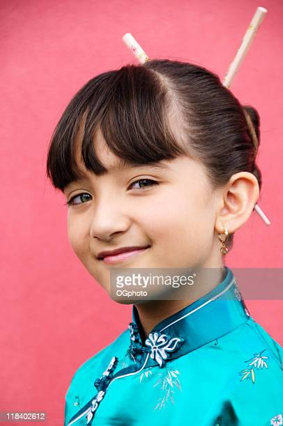 portrait of a young asian-hispanic girl in oriental outfit - ogphoto stock pictures, royalty-free photos & images