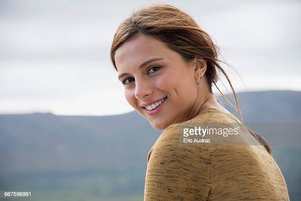 Portrait of a young beautiful woman smiling