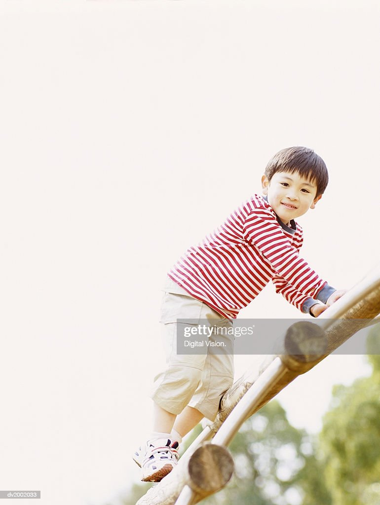 Portrait of a Young Boy on a Climbing Frame : Stock Photo