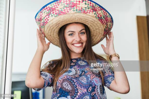 portrait of a young businesswoman in her office - mexican hat stock pictures, royalty-free photos & images