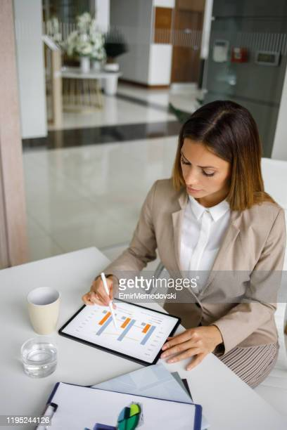 portrait of a young businesswoman using digital tablet in an office - bring your own device stock pictures, royalty-free photos & images