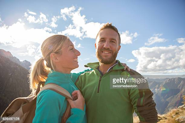 Portrait of a young couple hiking in Autumn