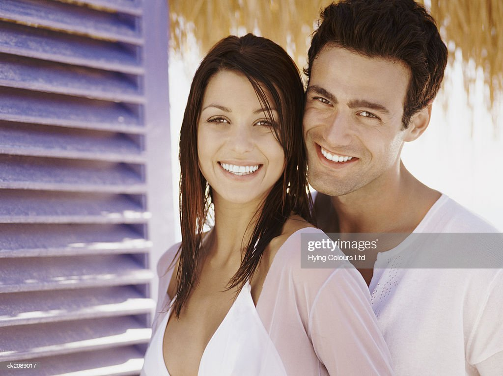 Portrait of a Young Couple in Summer Outfits : Stock Photo