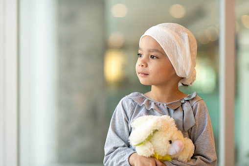 Portrait of a young ethnic girl with cancer 1158304420