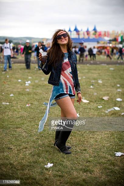 Portrait of a young fashionable girl T in the Park UK