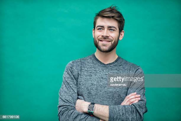 portrait of a young french man - colored background stock pictures, royalty-free photos & images