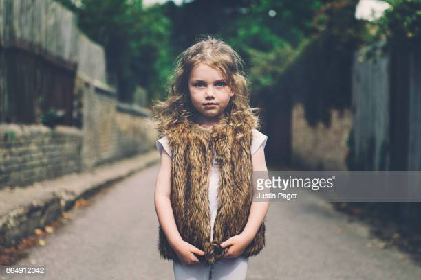 Portrait of a Young Girl in Alley Way