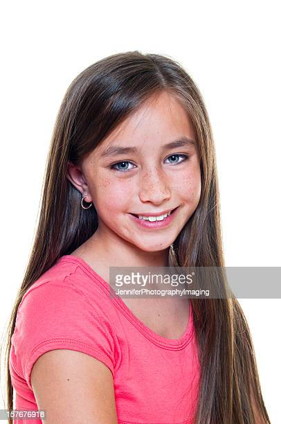 portrait of a young girl - 13 years old girl in jeans stock photos and pictures