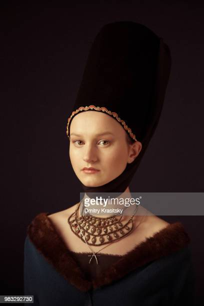 portrait of a young girl - renaissance stock pictures, royalty-free photos & images