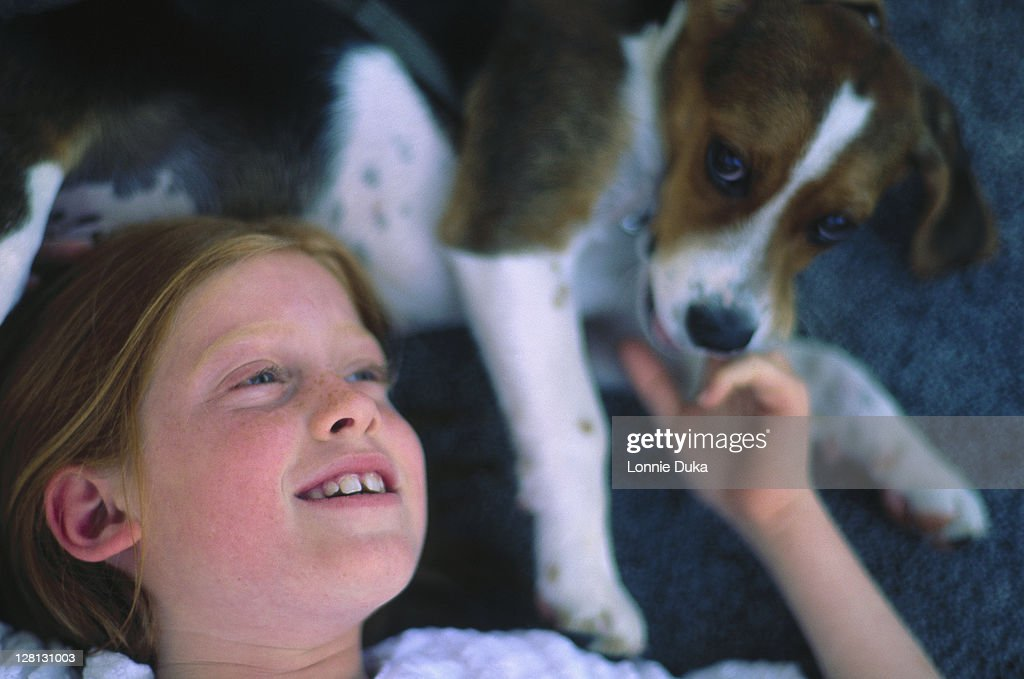 Portrait of a young girl w/beagle puppy : Stock Photo