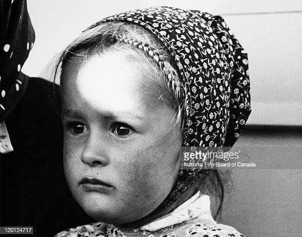 Portrait of a young Hutterite girl Northeast Alberta Canada 1963 Photo taken during the National Film Board of Canada's production of 'The Hutterites'