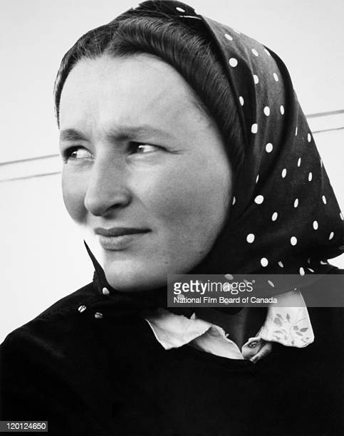 Portrait of a young Hutterite mother Northeast Alberta Canada 1963 Photo taken during the National Film Board of Canada's production of 'The...