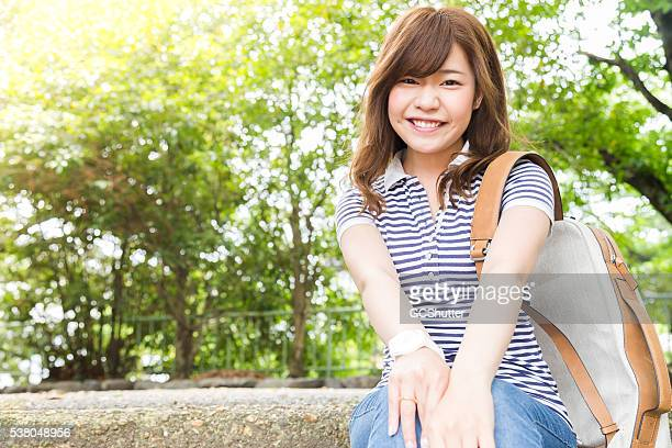 portrait of a young japanese college student - beautiful japanese girls stock photos and pictures
