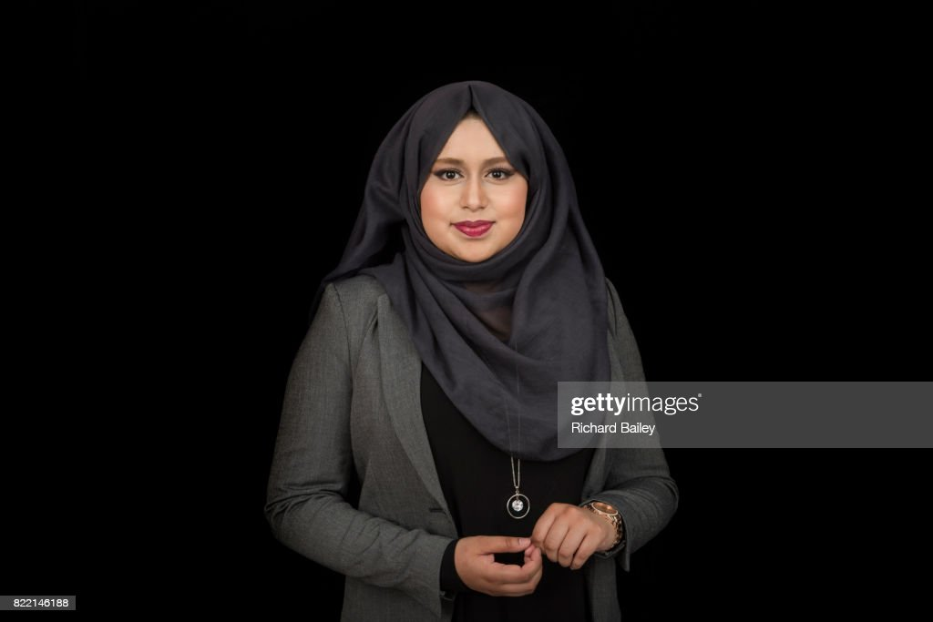 Portrait of a young lady wearing a hijab : Stock Photo
