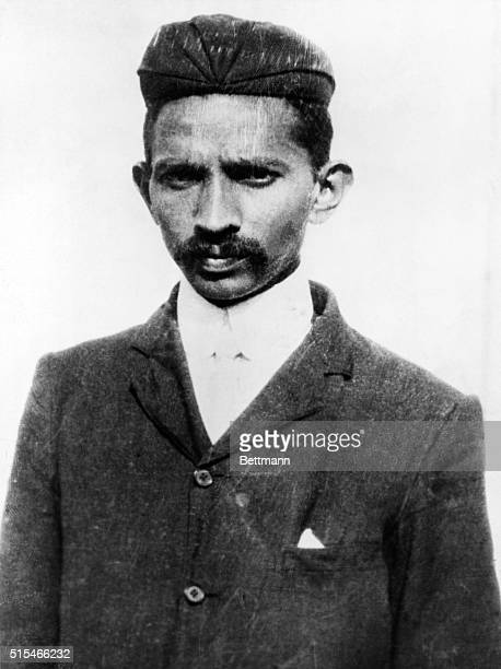Portrait of a young Mahatma Gandhi the prominent Indian Nationalist after he was arrested for organizing a revolt