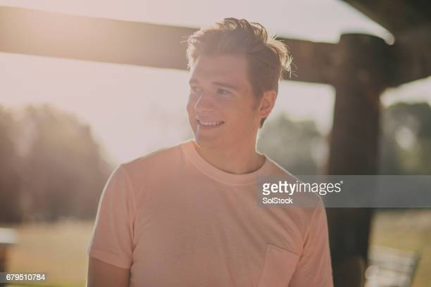 Portrait of a Young Man at a BBQ