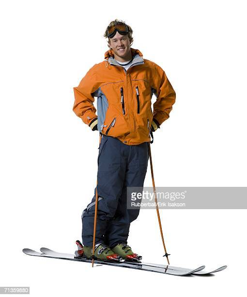 Portrait of a young man skiing