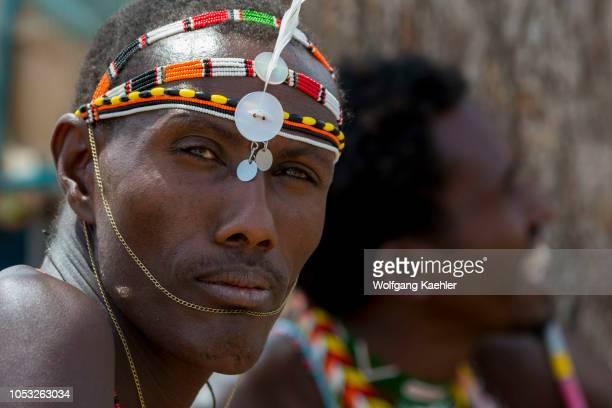 A portrait of a young Samburu man at a Samburu village near Samburu National Reserve in Kenya