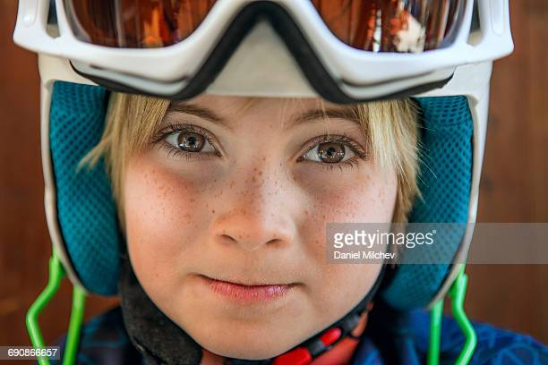 Portrait of a young ski racer kid.