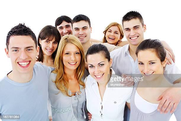 retrato de un joven sonriente personas de pie juntos. - personas cabeza grande fotografías e imágenes de stock