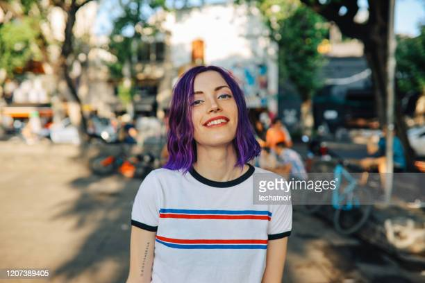 portrait of a young woman in palermo, buenos aires - purple hair stock pictures, royalty-free photos & images