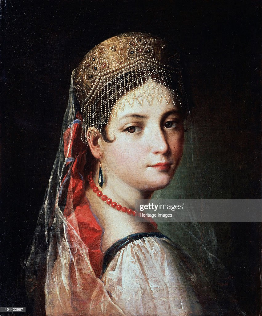 'Portrait of a Young woman in Sarafan and Kokoshnik', 1820s. Artist: Mauro Gandolfi : News Photo