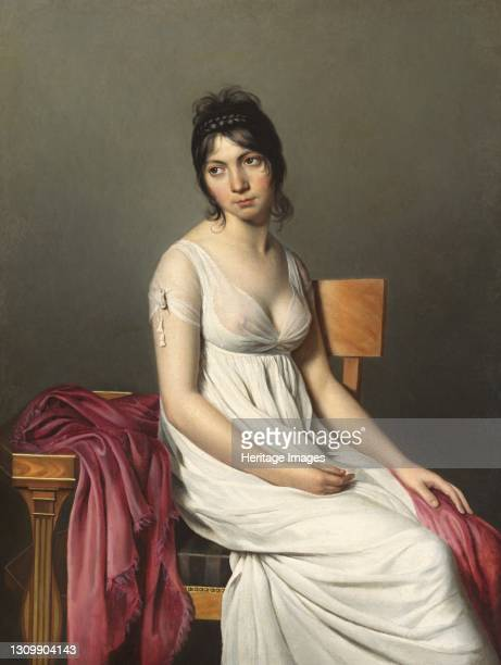 Portrait of a Young Woman in White, circa 1798. Artist Anon. .