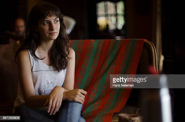 Portrait of a young woman indoors