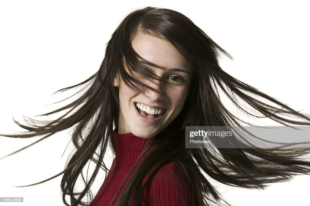 Portrait of a young woman laughing : Foto de stock