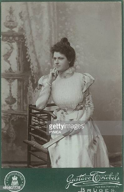 Portrait of a young woman looking thoughtful circa 1890s