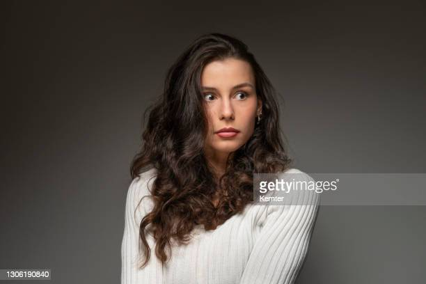 portrait of a young woman - terrified stock pictures, royalty-free photos & images