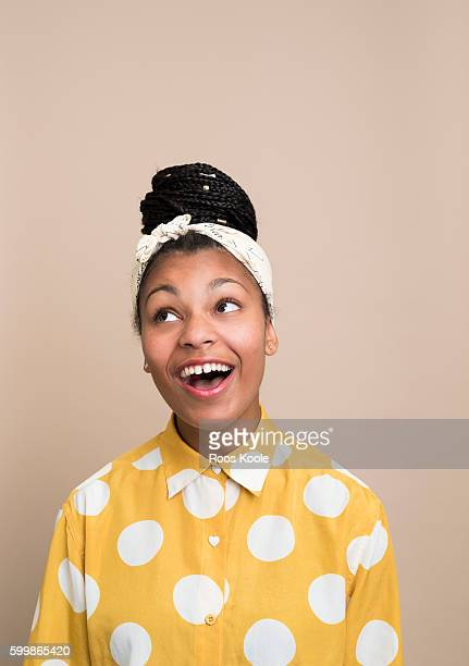 portrait of a young woman - black people laughing stock photos and pictures