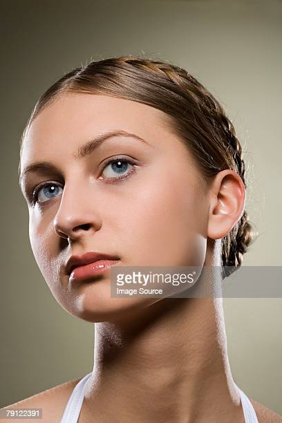 portrait of a young woman - hair back stock pictures, royalty-free photos & images
