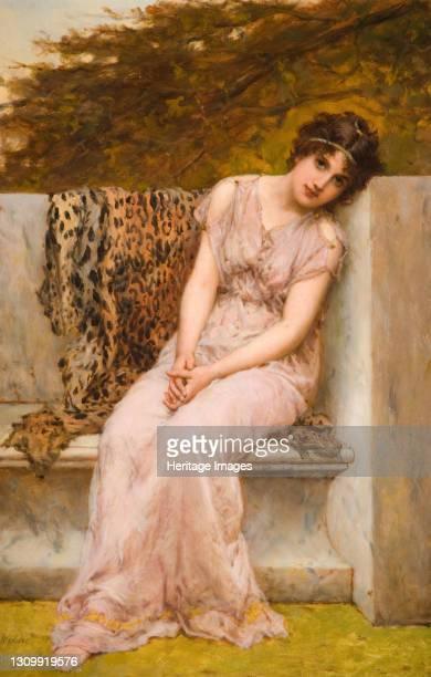Portrait Of A Young Woman Sitting On Marble Seat, 1882. Artist William Oliver. .