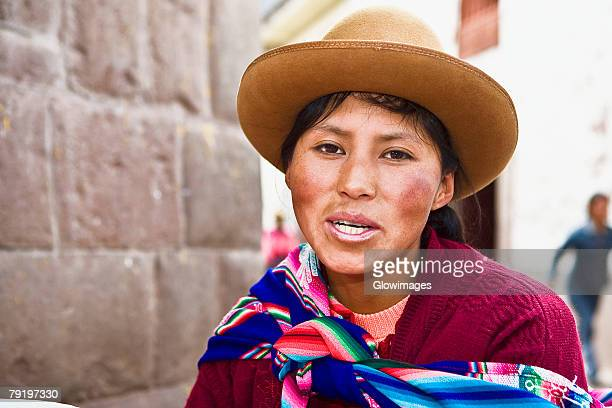 Portrait of a young woman smiling, Peru