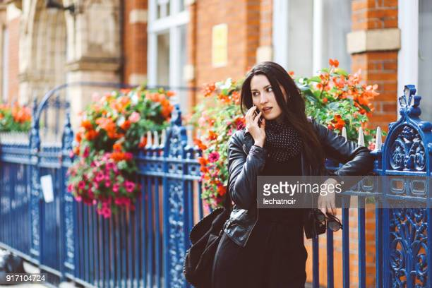 portrait of a young woman walking in London