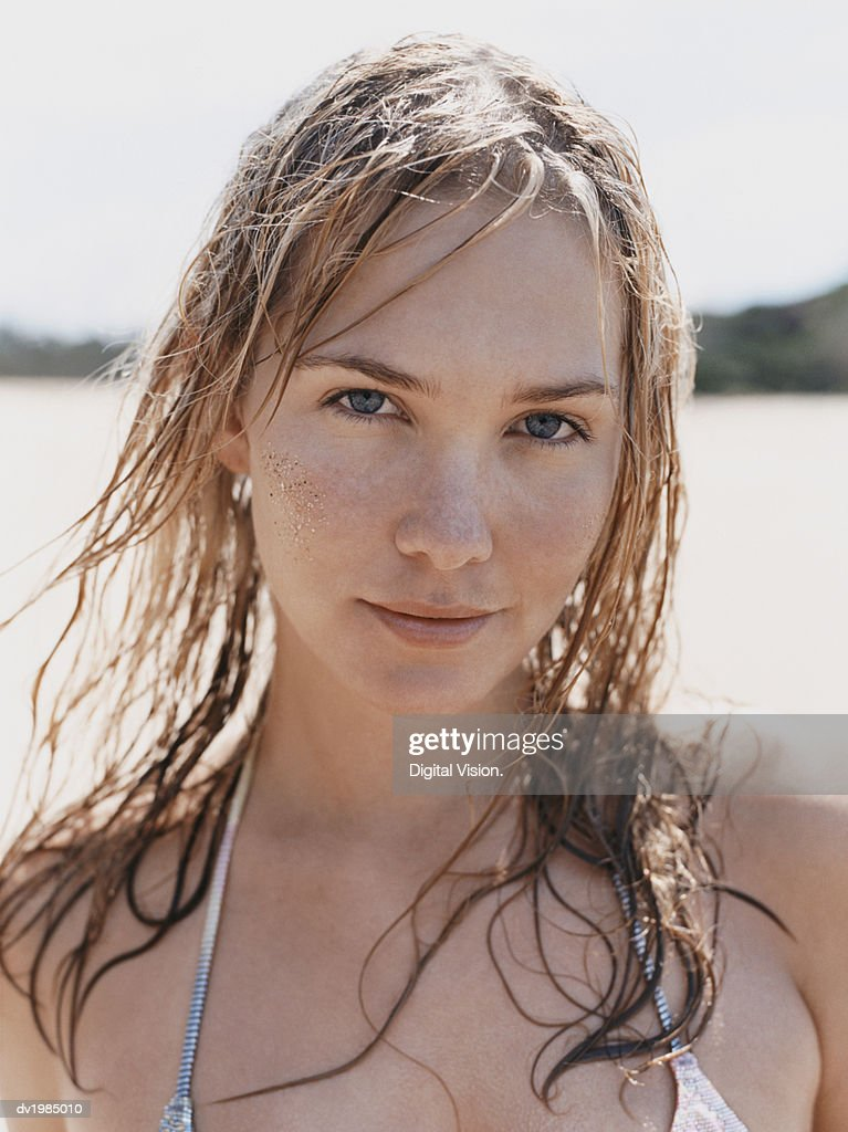 Portrait of a Young Woman Wearing a Bikini : Stock Photo