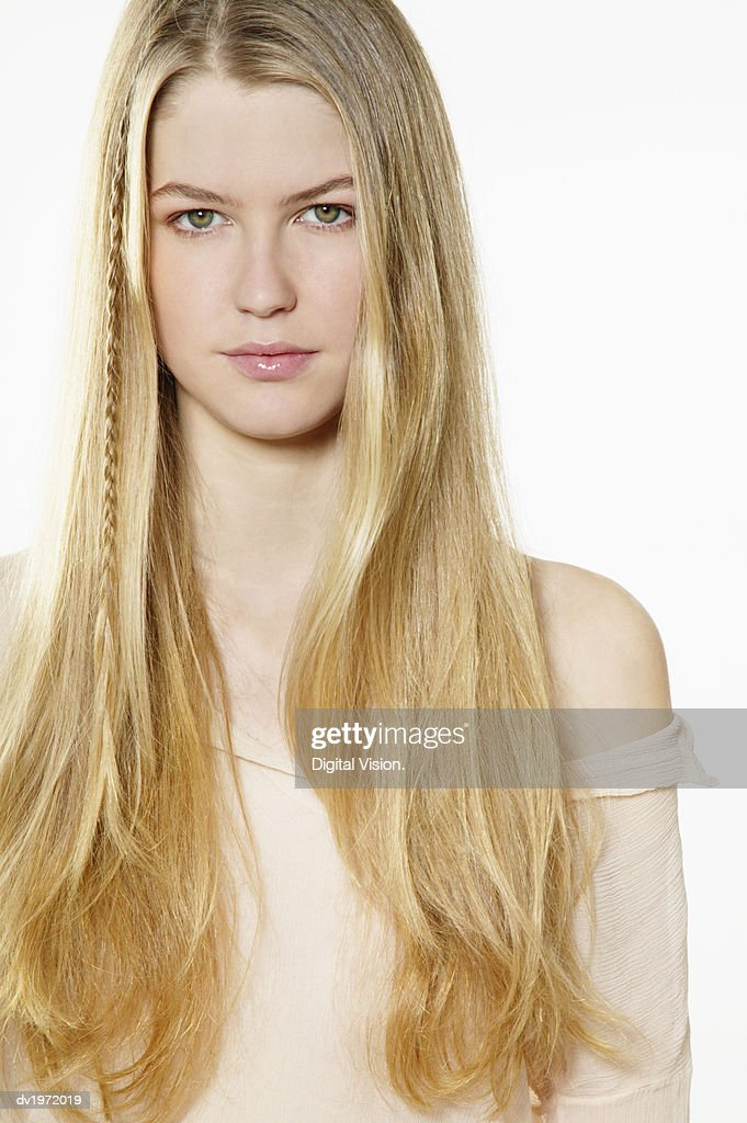 Portrait of a Young Woman With Long, Blond Hair : Stock Photo