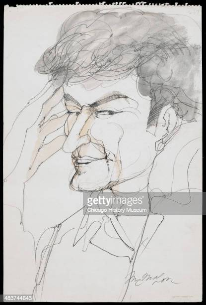 Portrait of Abbie Hoffman in a courtroom illustration during the trial of the Chicago Eight Chicago Illinois late 1969 or early 1970 The Eight or...