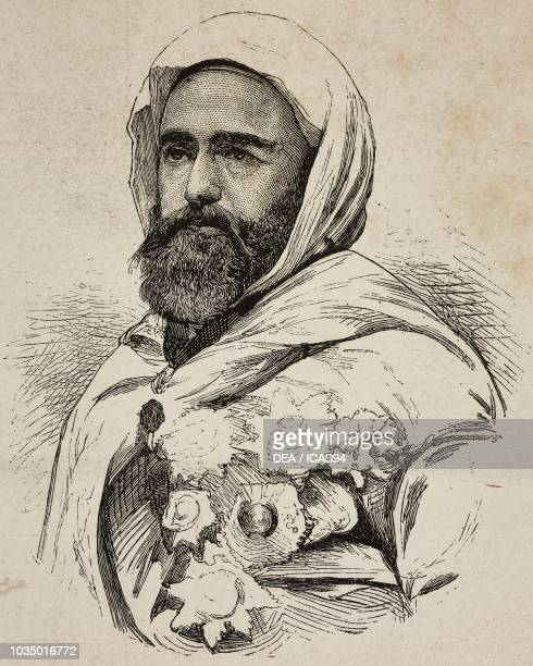 Portrait of Abdelkader Algerian Emir engraving from L'Illustrazione Italiana year 10 no 22 June 3 1883