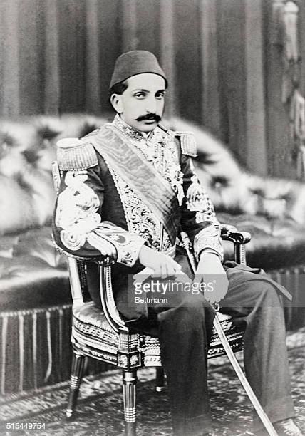 Portrait of Abdul Hamid II Sultan of Turkey seated wearing military regalia He was also called The Great Assassin and ruled from 18761909 Undated...