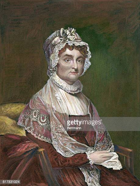 Portrait of Abigail Adams American writer and wife of John Adams second president of US Undated hand tinted color engraving from an original painting...