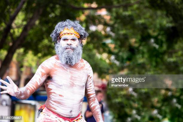 portrait of aboriginal male, sydney australia, copy space - ceremony stock pictures, royalty-free photos & images